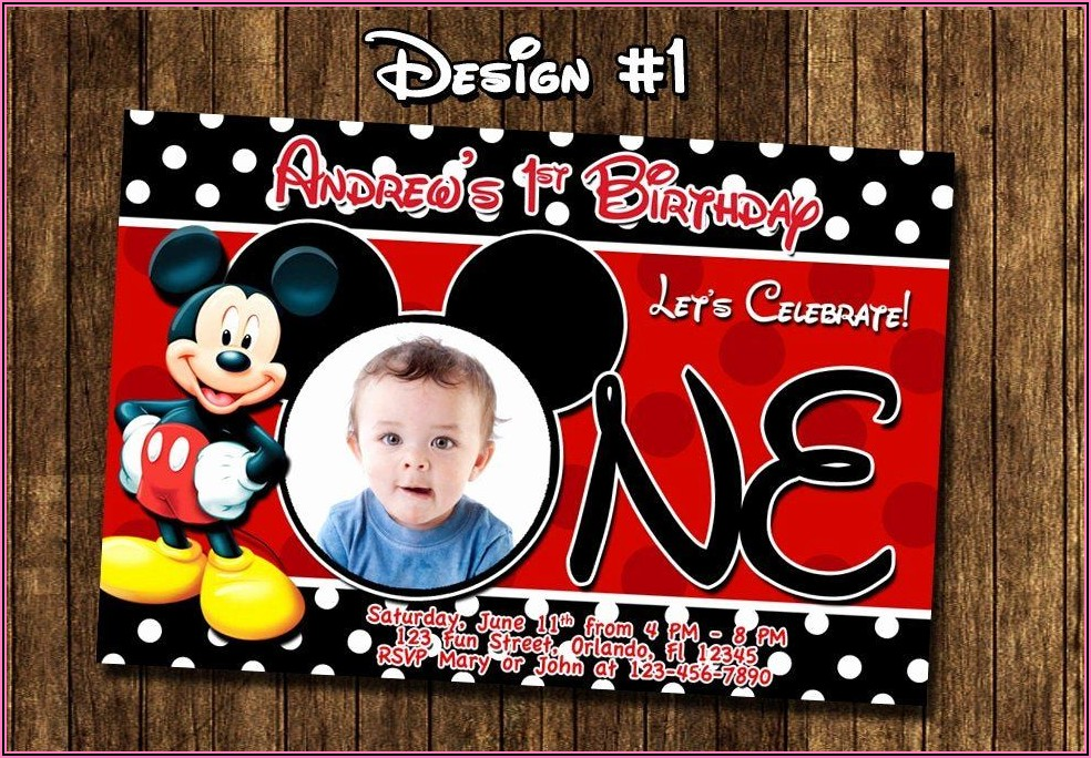 Baby Mickey Mouse First Birthday Invitations
