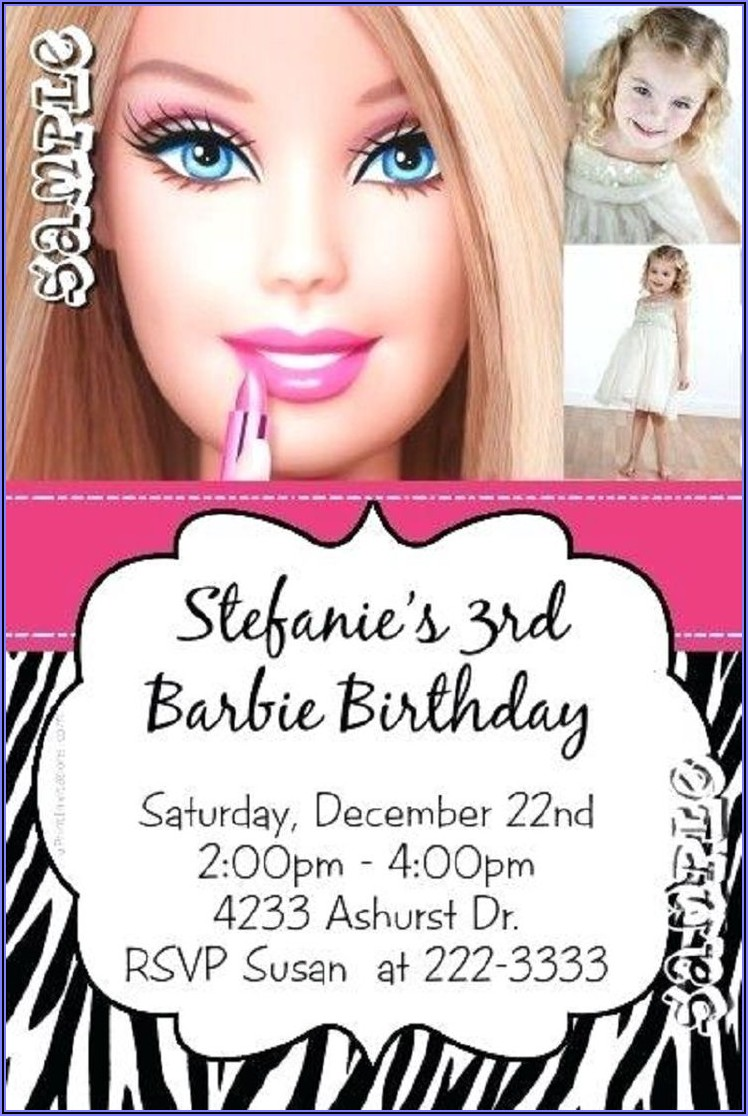 Barbie Birthday Invitations Online