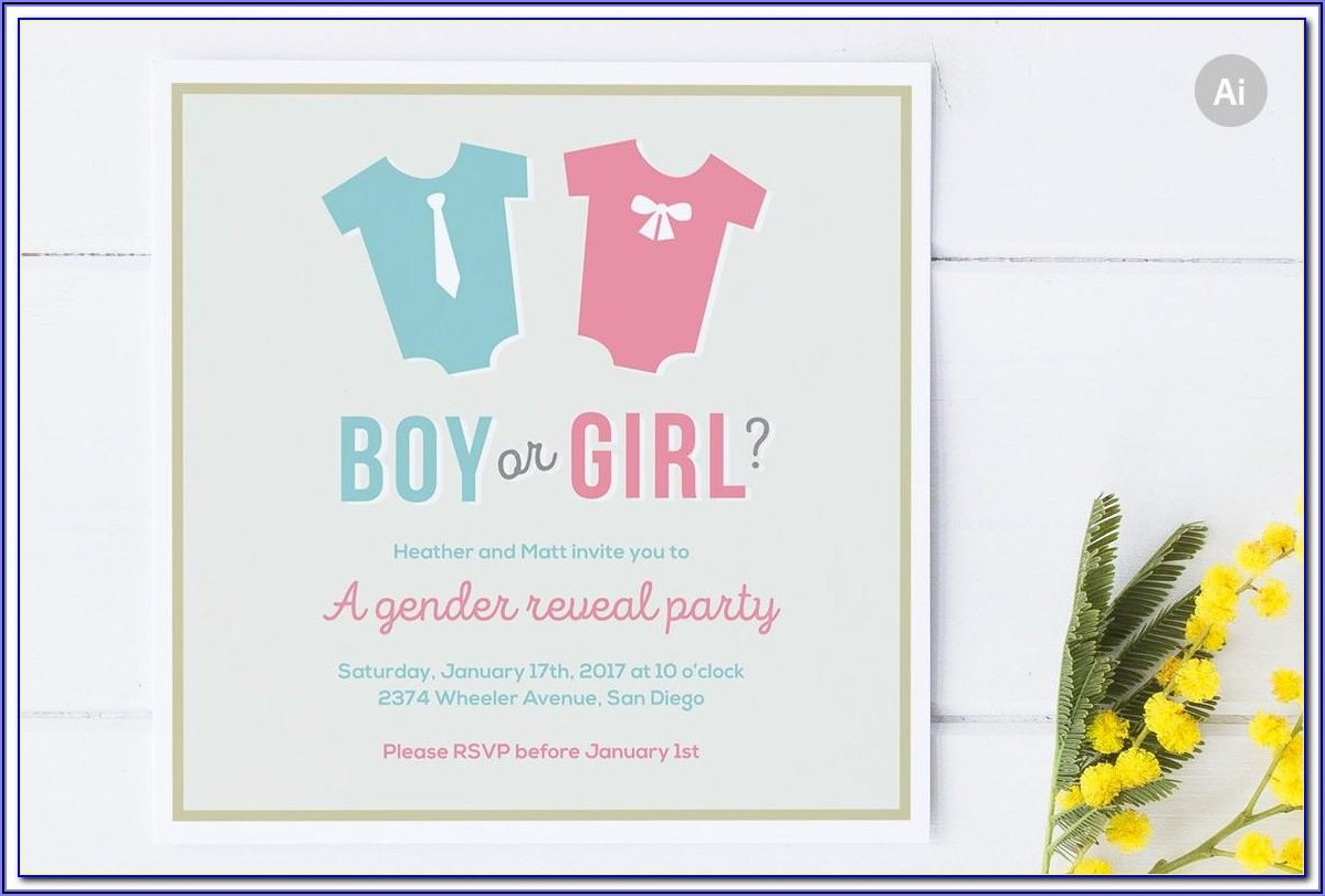 Bee Gender Reveal Invitation Template