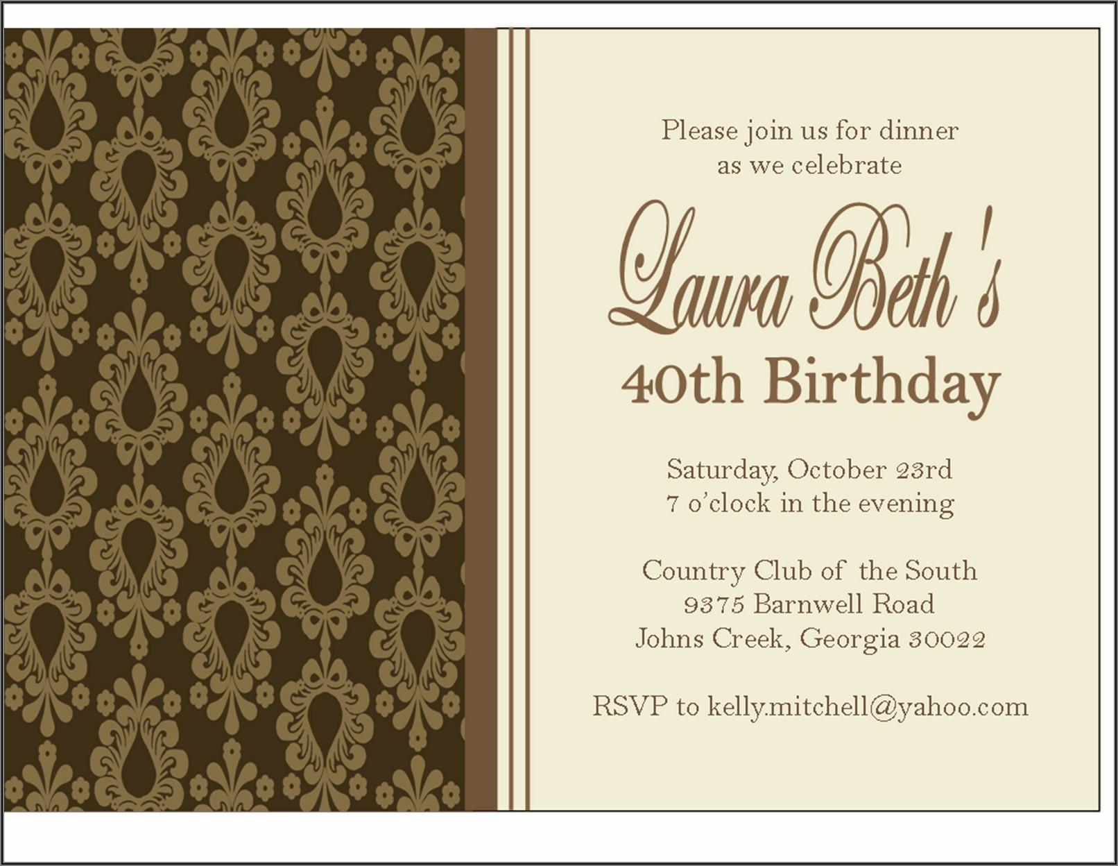 Birthday Dinner Invitation Wording Template
