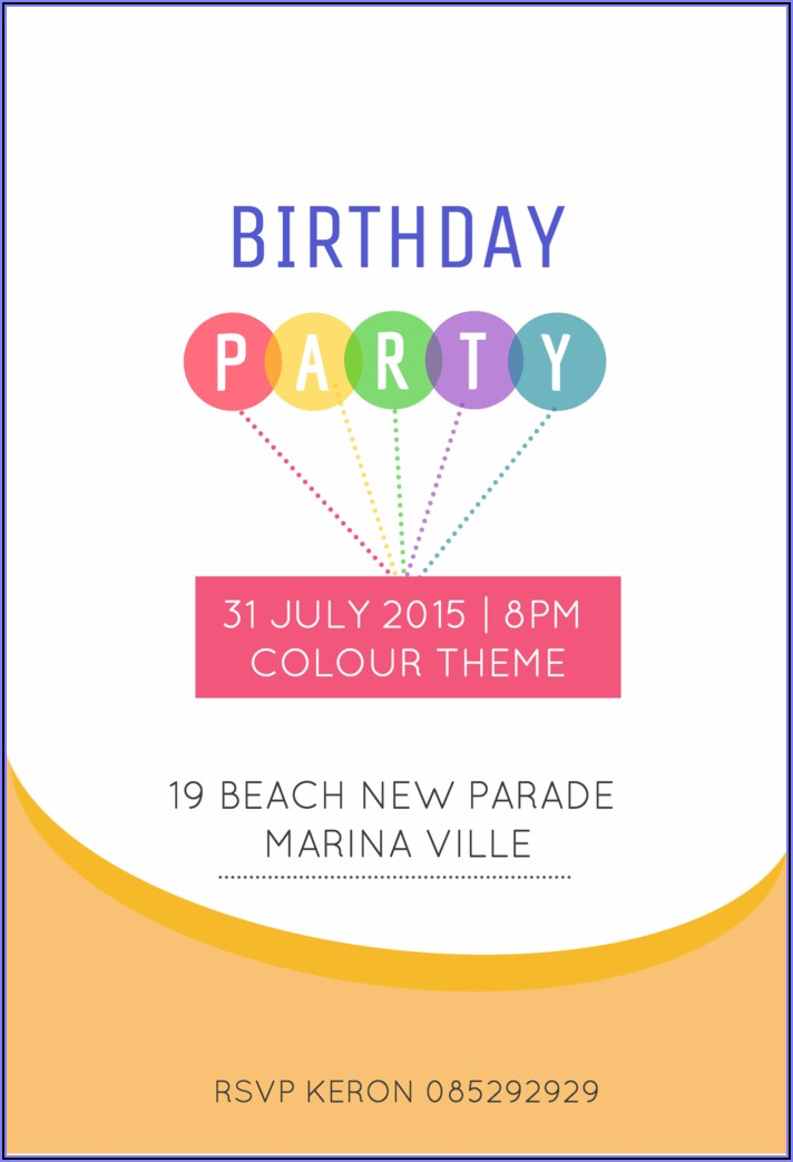 Birthday Invitation Text Message Example
