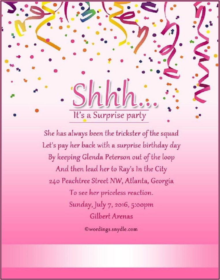 Birthday Invitation Wording Ideas For Adults