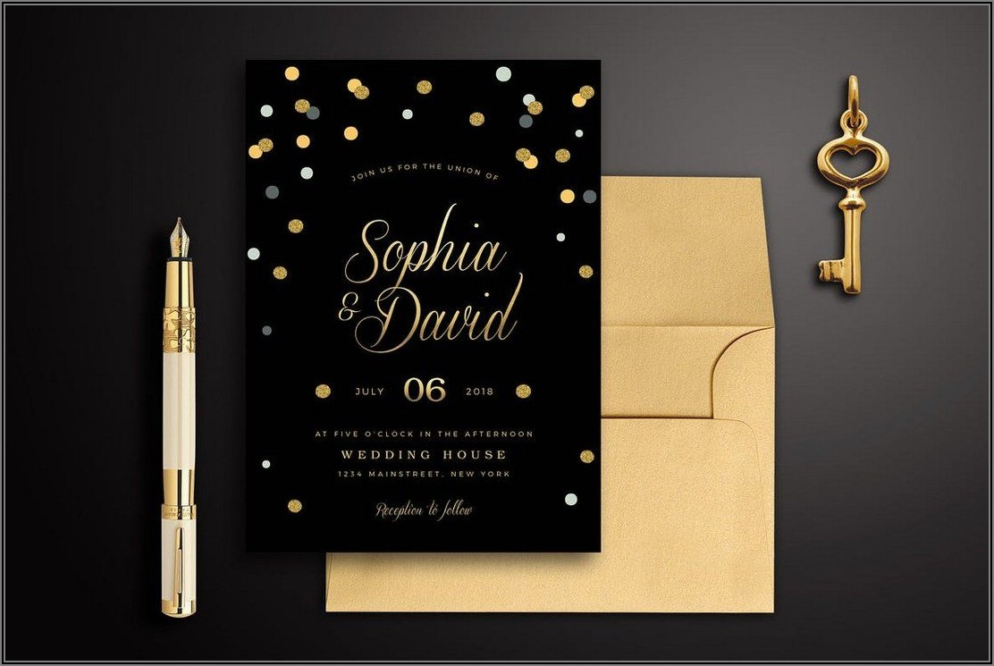 Black And Gold 50th Wedding Invitation Templates