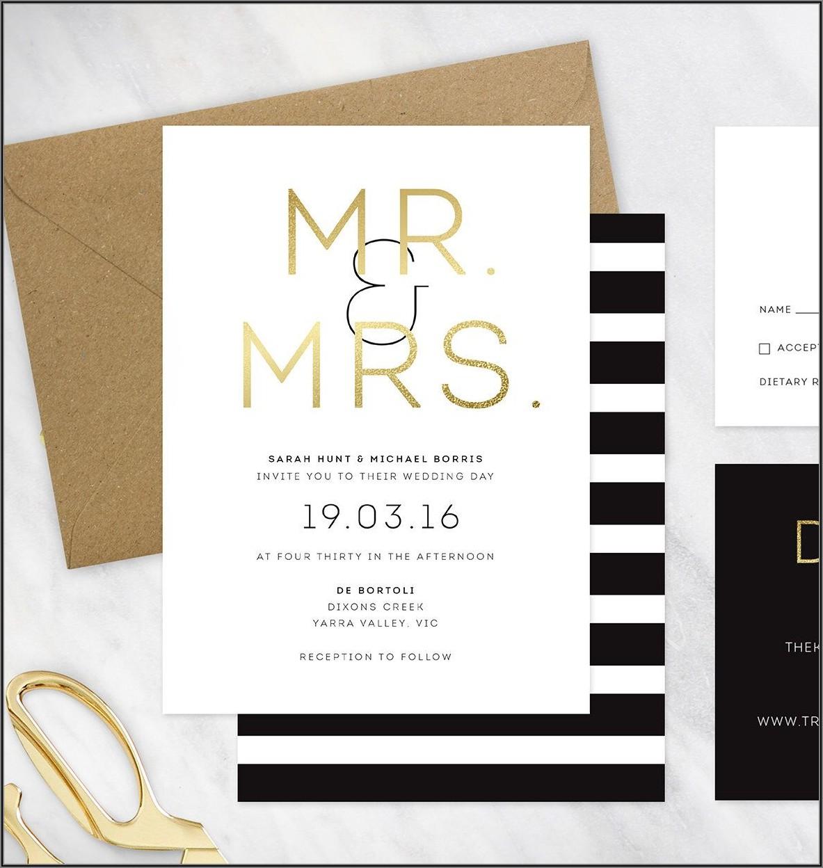 Black White And Gold Wedding Invitations