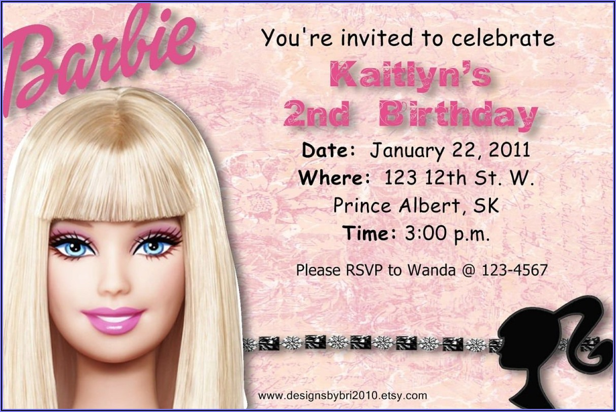 Blank Barbie Birthday Invitation Template
