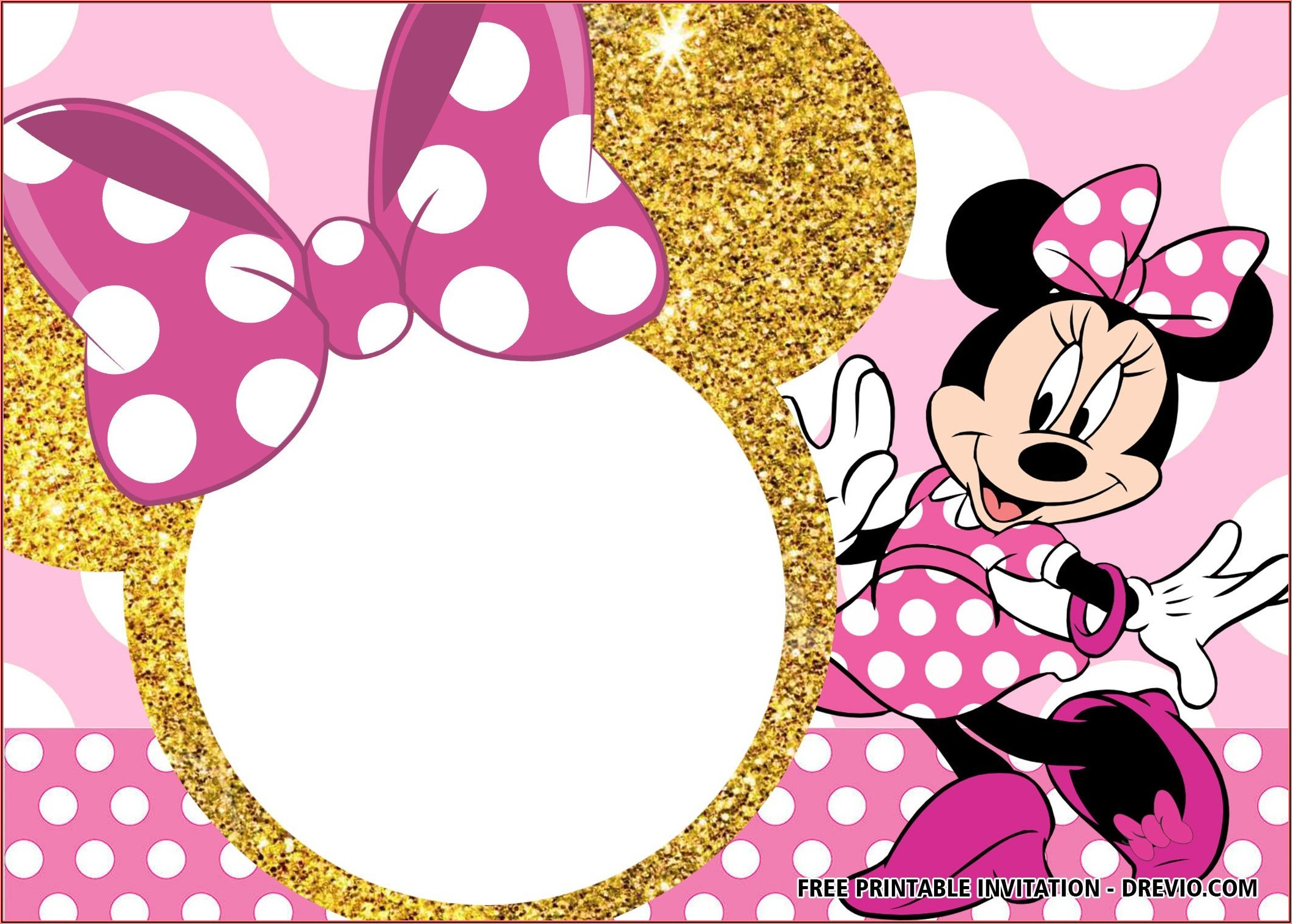 Blank Editable Minnie Mouse Invitation Template
