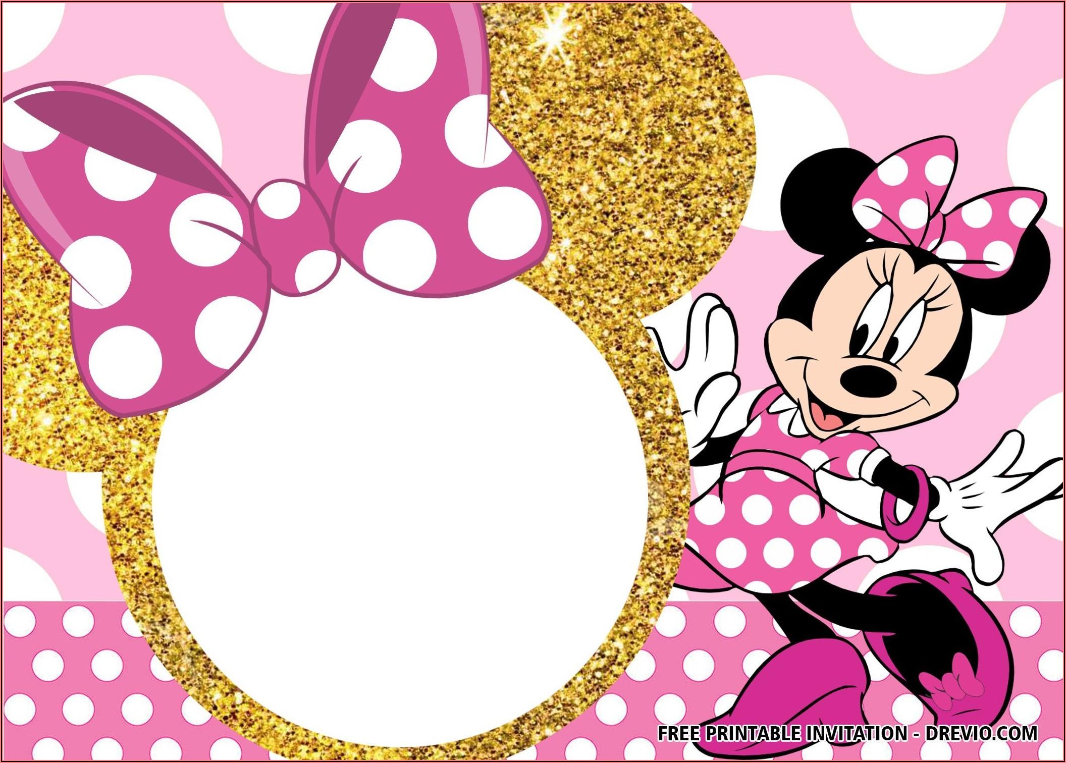 Blank Editable Minnie Mouse Invitation Template