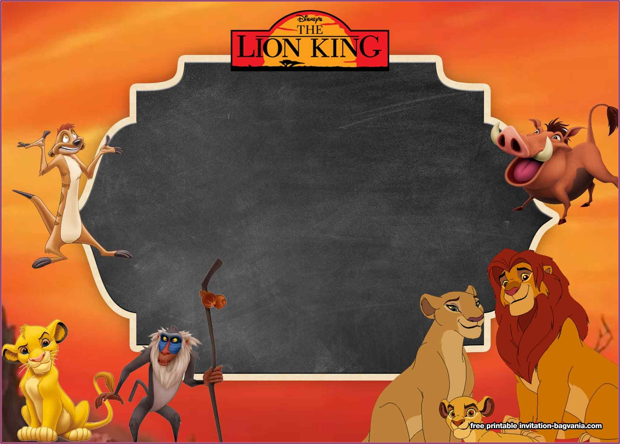 Blank Lion King Invitation Template Free