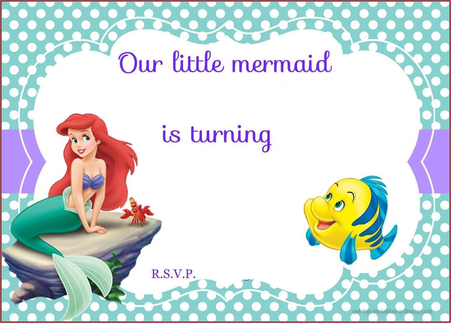 Blank Little Mermaid Invitation Template