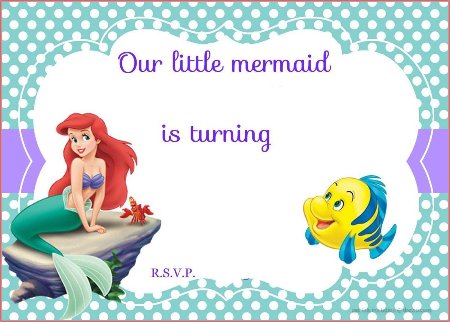 Blank Little Mermaid Invitation Template