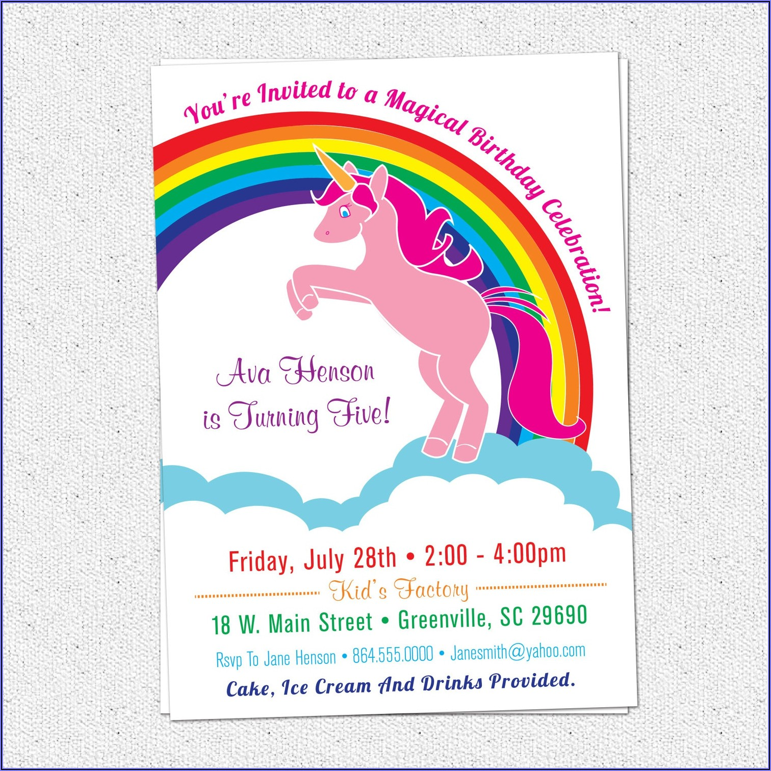 Blank Rainbow Birthday Invitations