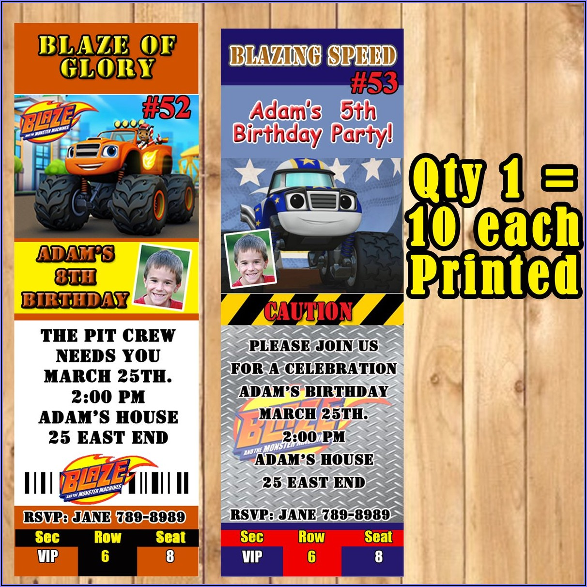 Blaze Monster Truck Birthday Invitations
