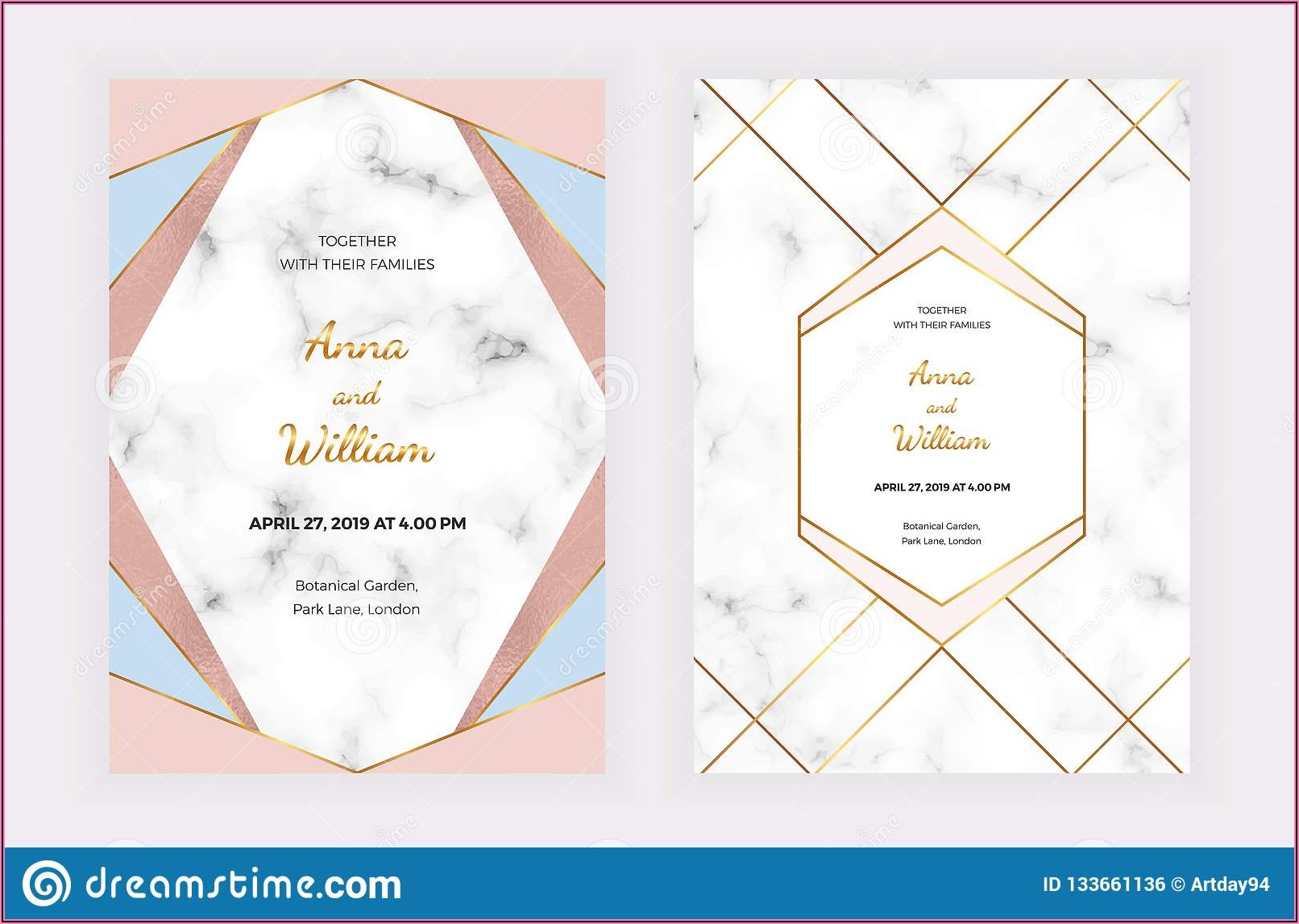 Blue And Pink Wedding Invitation Cards