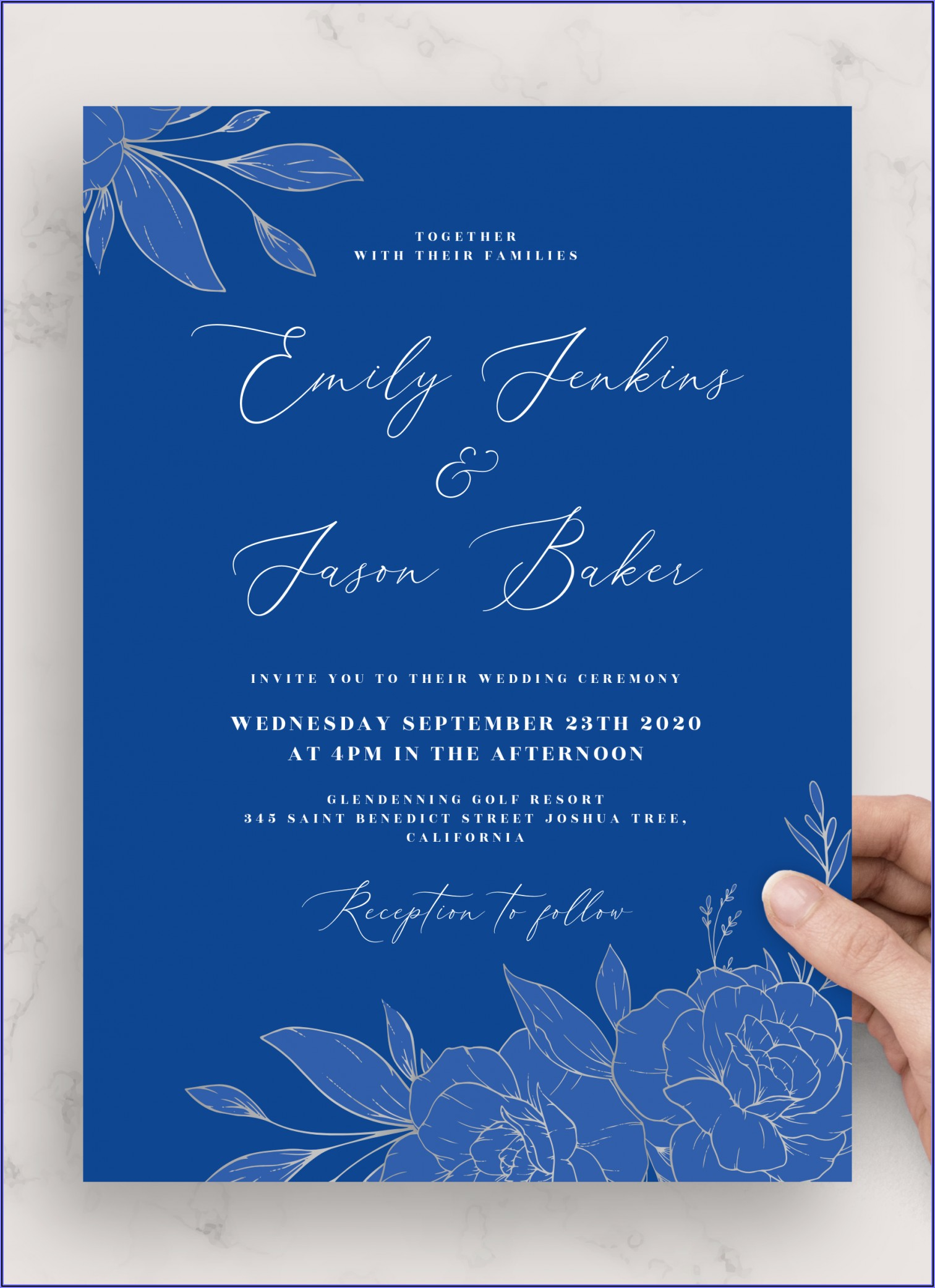 Blue Elegant Wedding Invitation Background