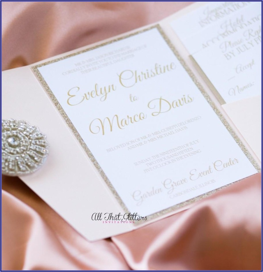 Blue Pink Gold Wedding Invitations