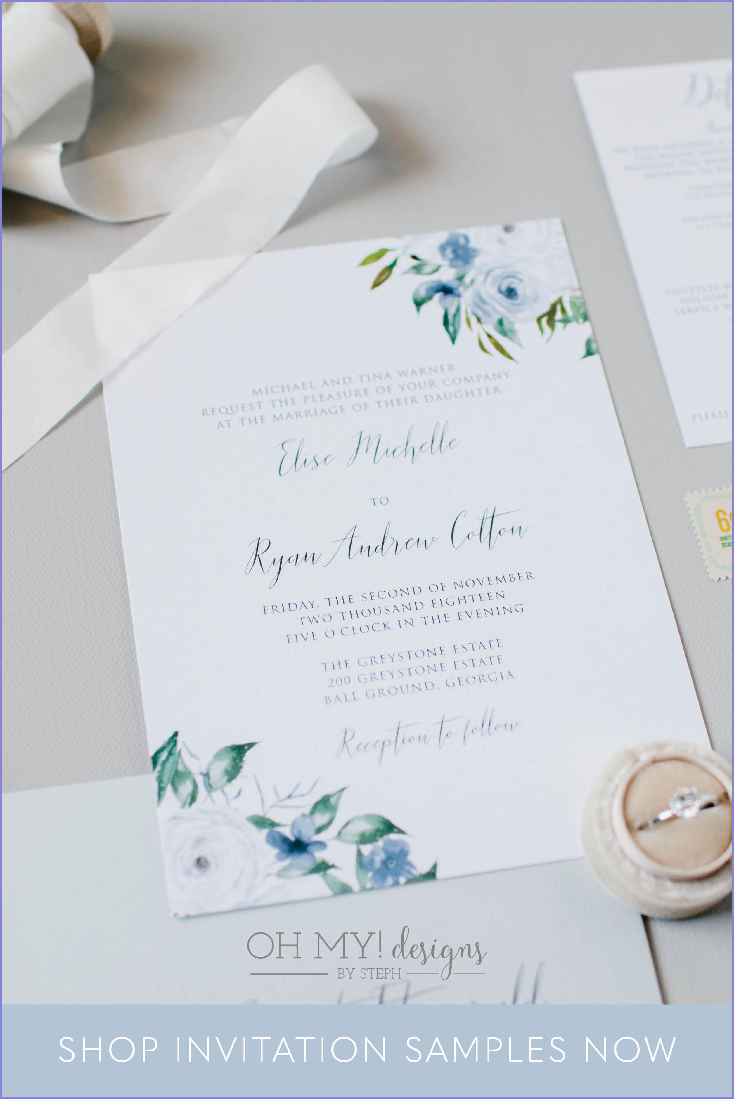 Blue Wedding Invitation Sample