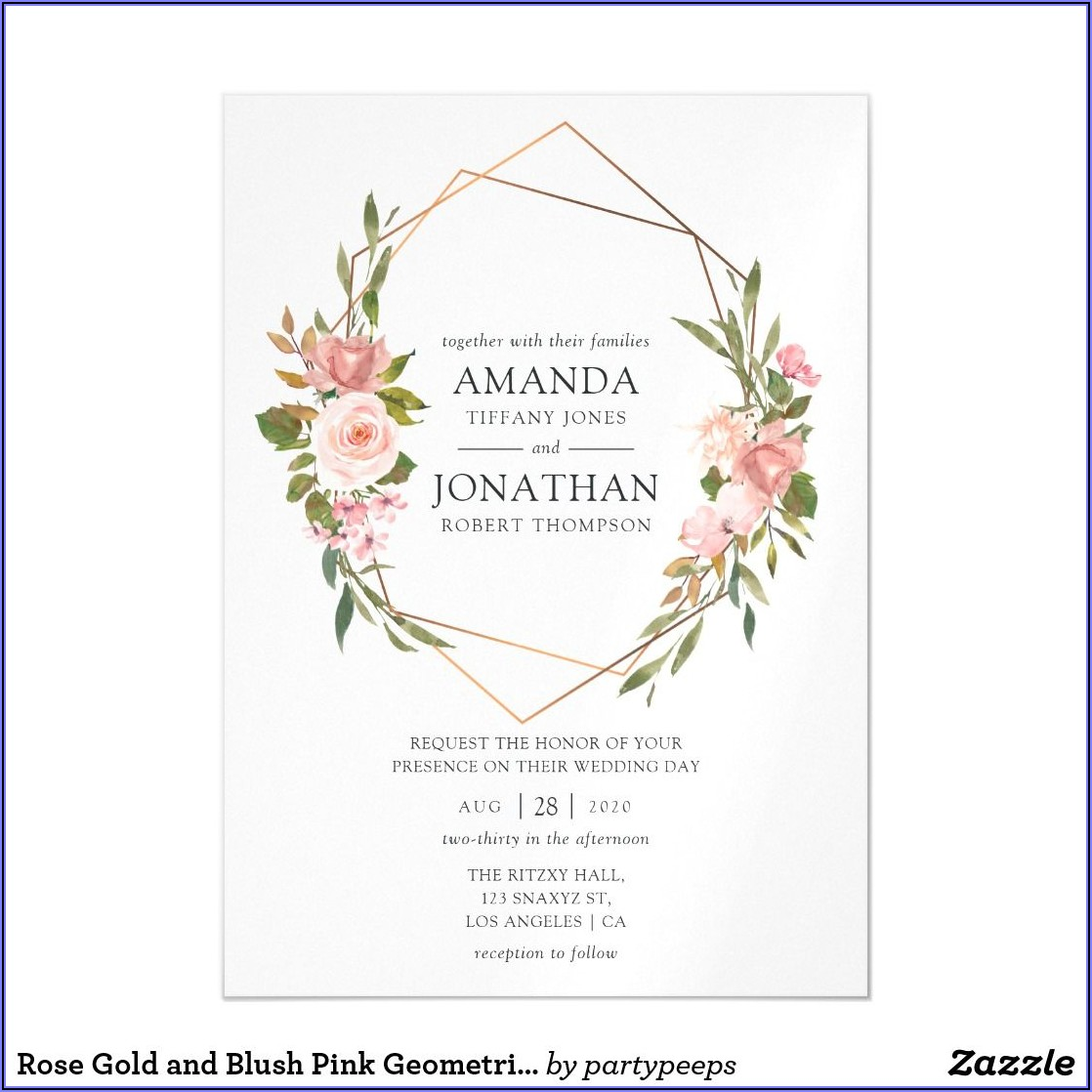 Blush Pink And Rose Gold Wedding Invitations