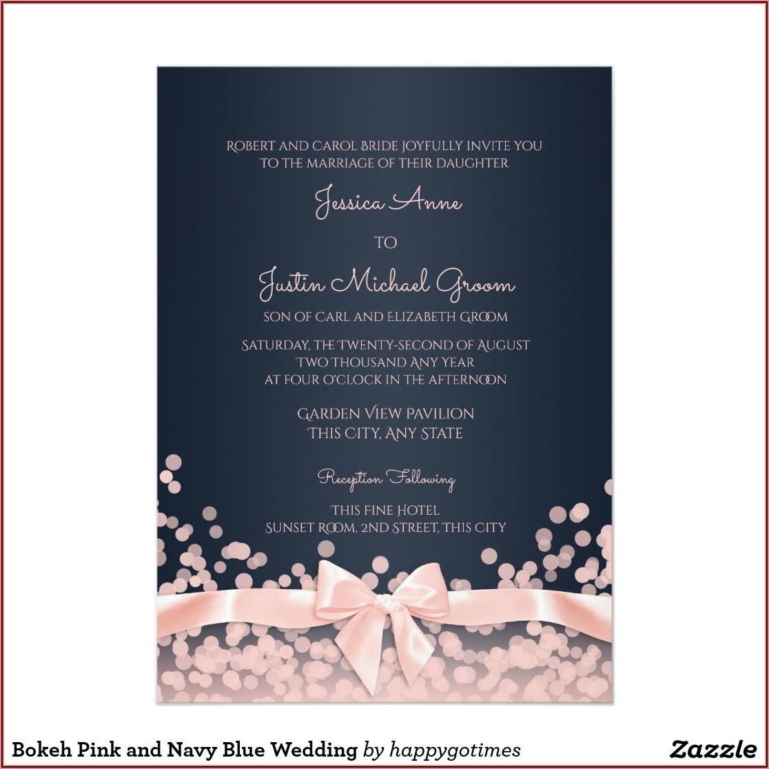 Bokeh Pink And Navy Blue Wedding Invitation