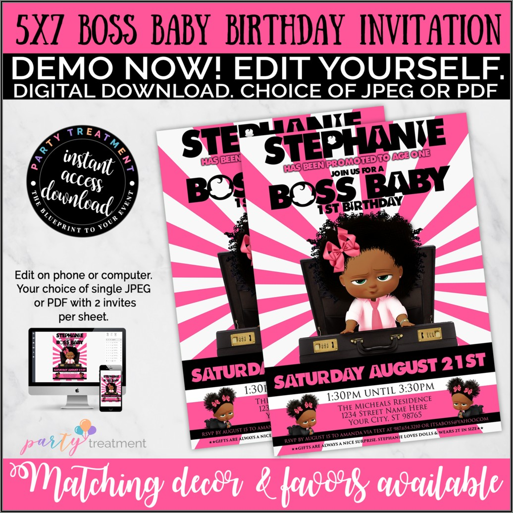 Boss Baby Girl Invitations