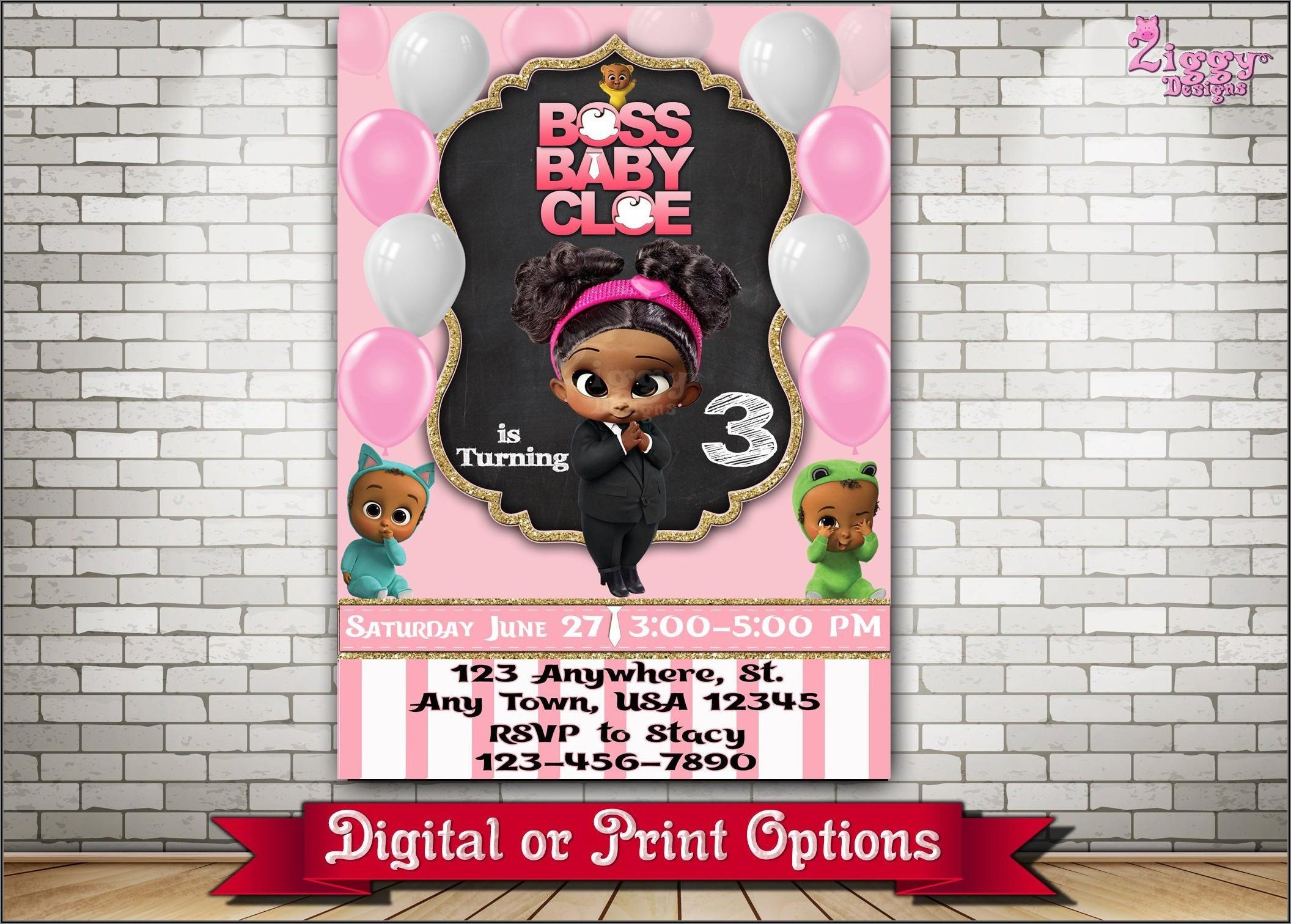 Boss Baby Girl Online Invitations