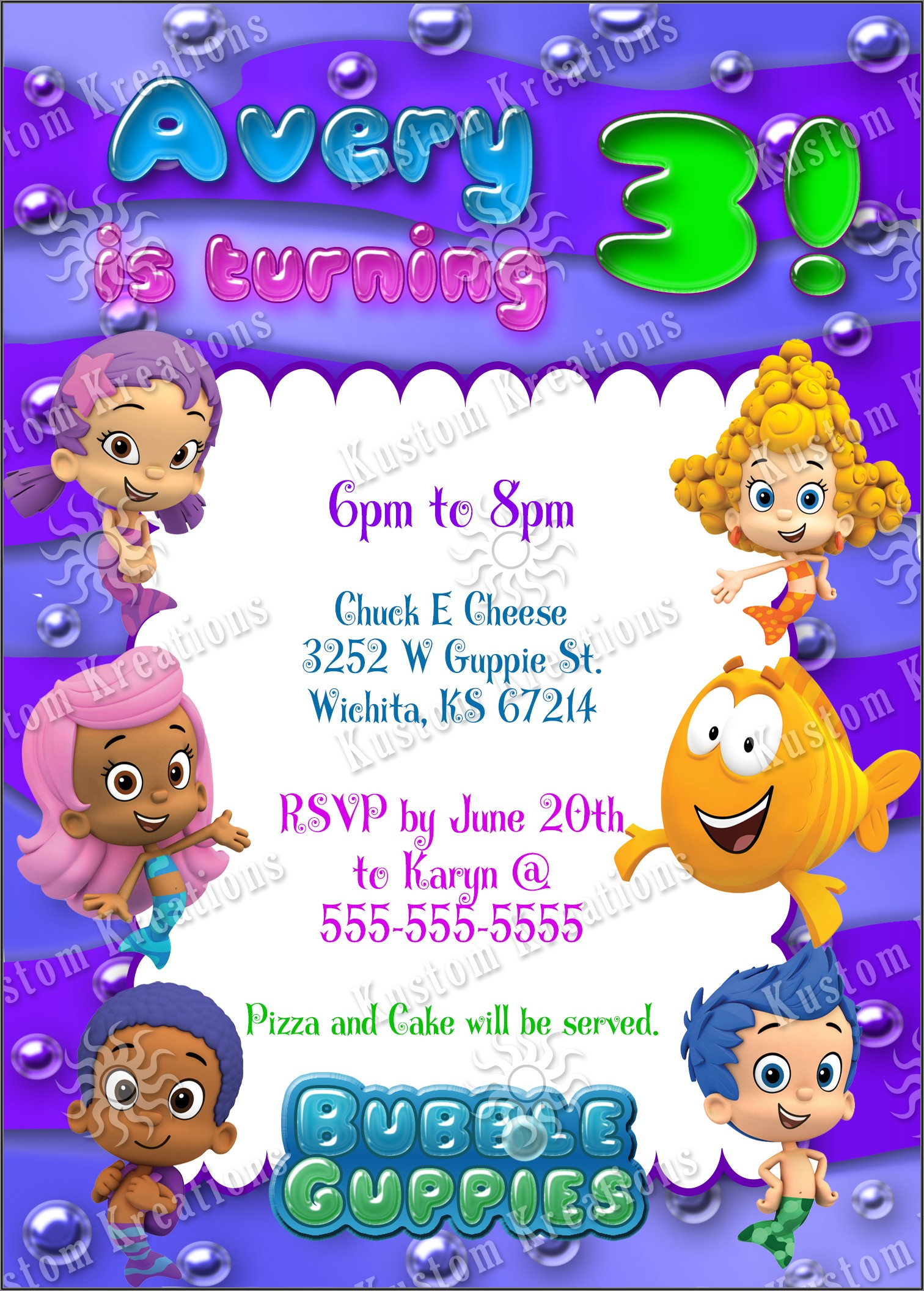 Bubble Guppies Birthday Invitations