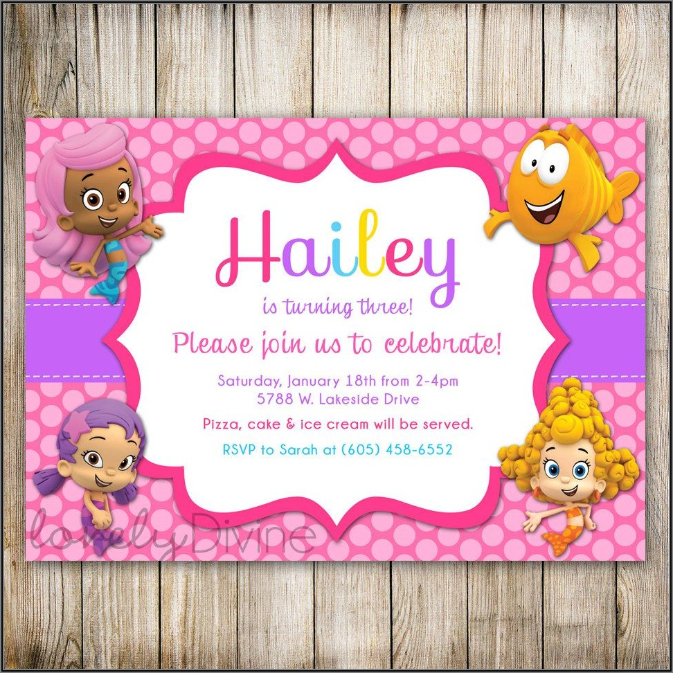 Bubble Guppies First Birthday Invitations