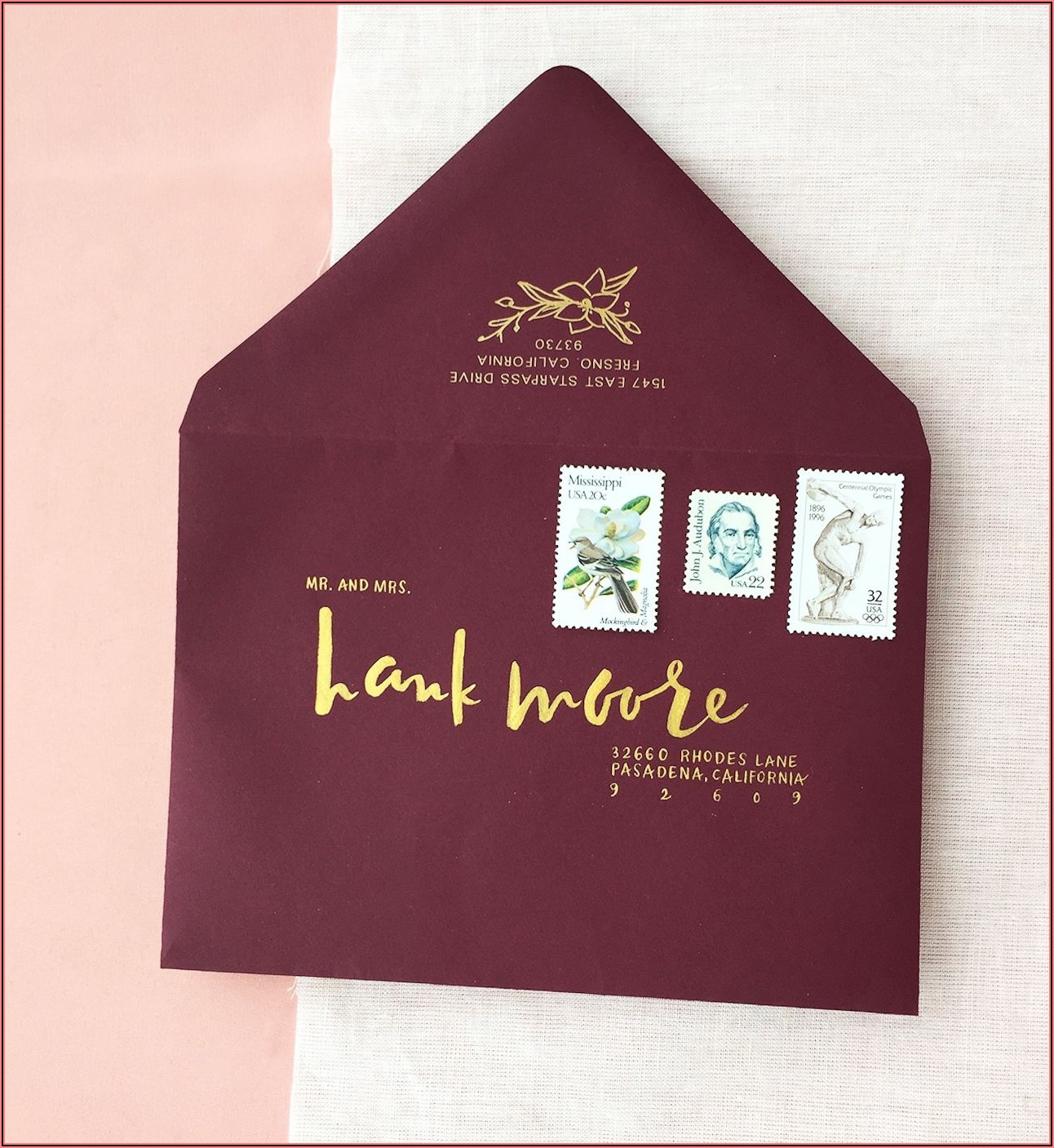 Burgundy And Gold Foil Wedding Invitations