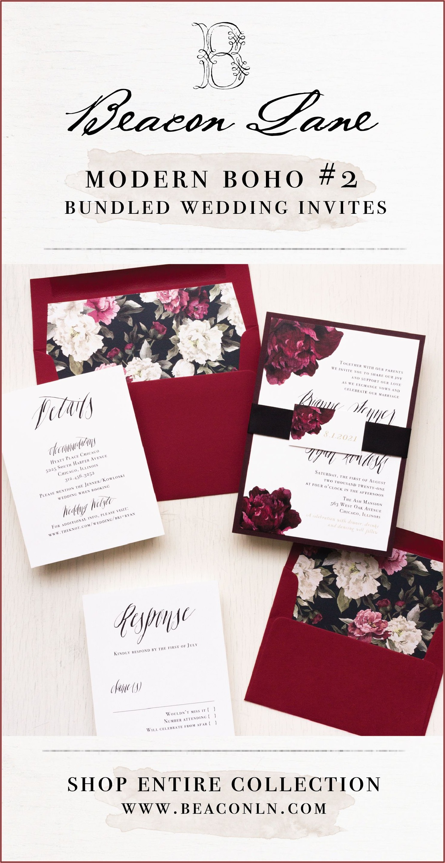 Burgundy Black And Gold Wedding Invitations
