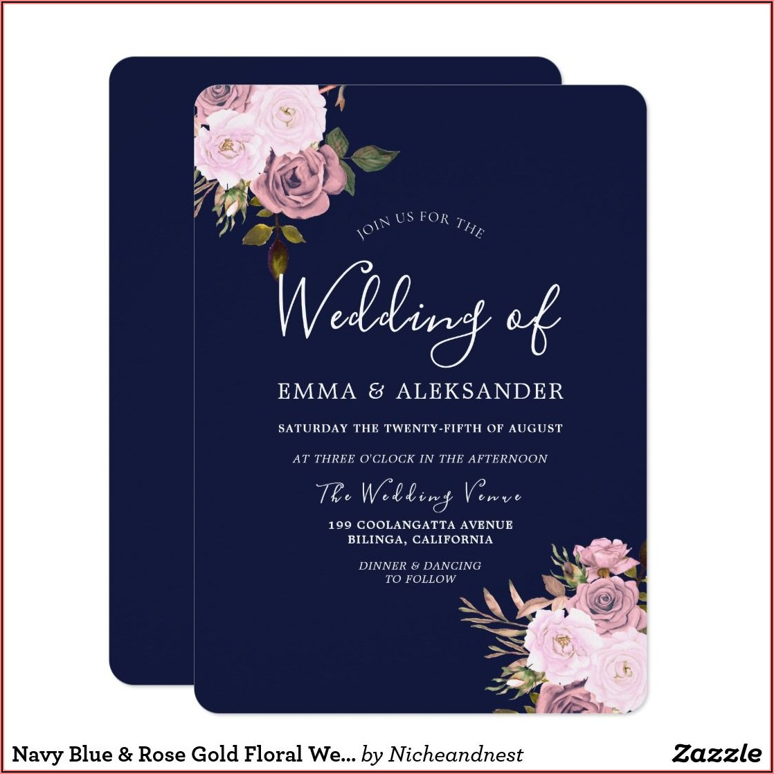 Burgundy Navy Blue Rose Gold Wedding Invitations