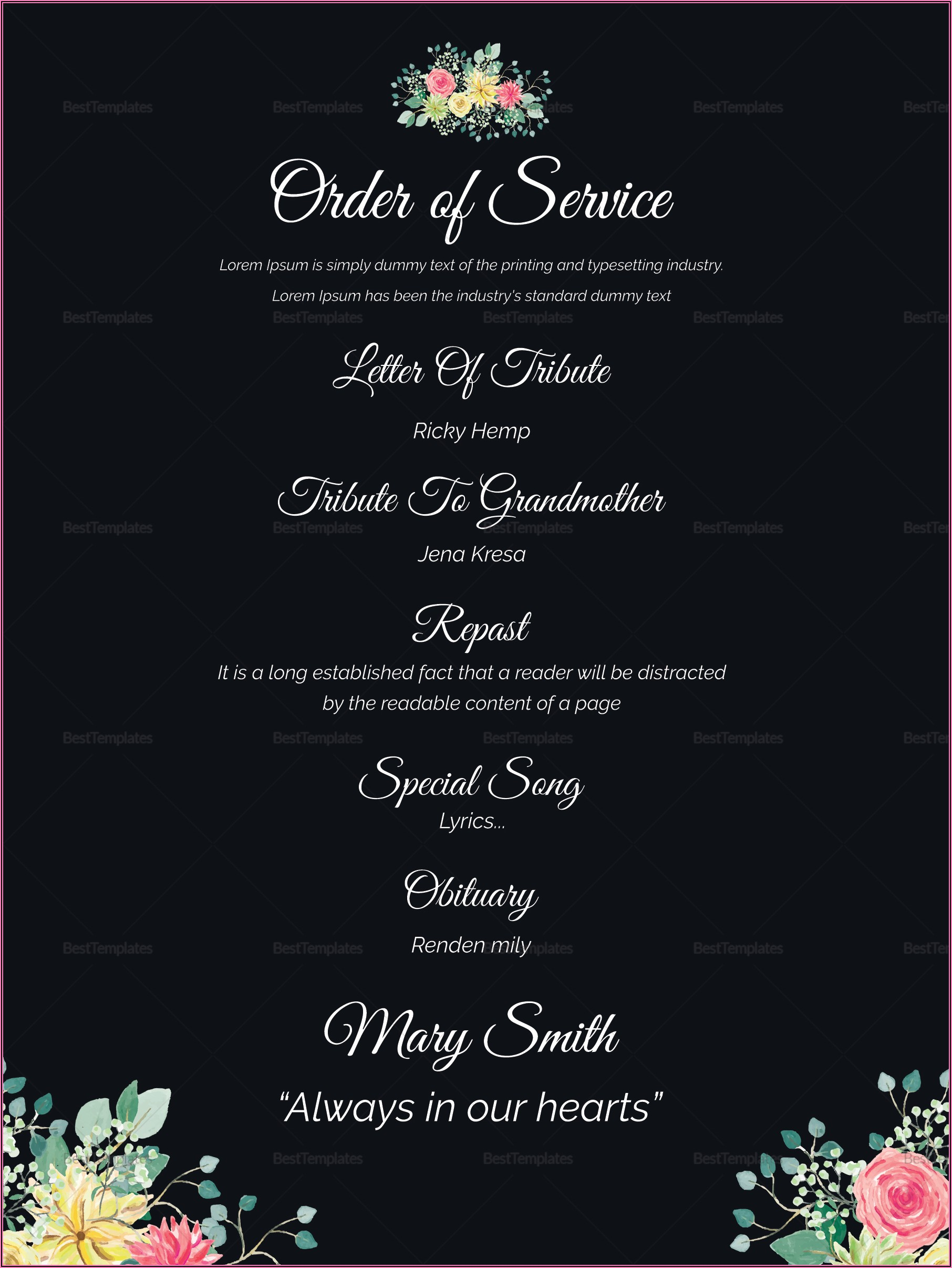 Burial Ceremony Invitation Card Template