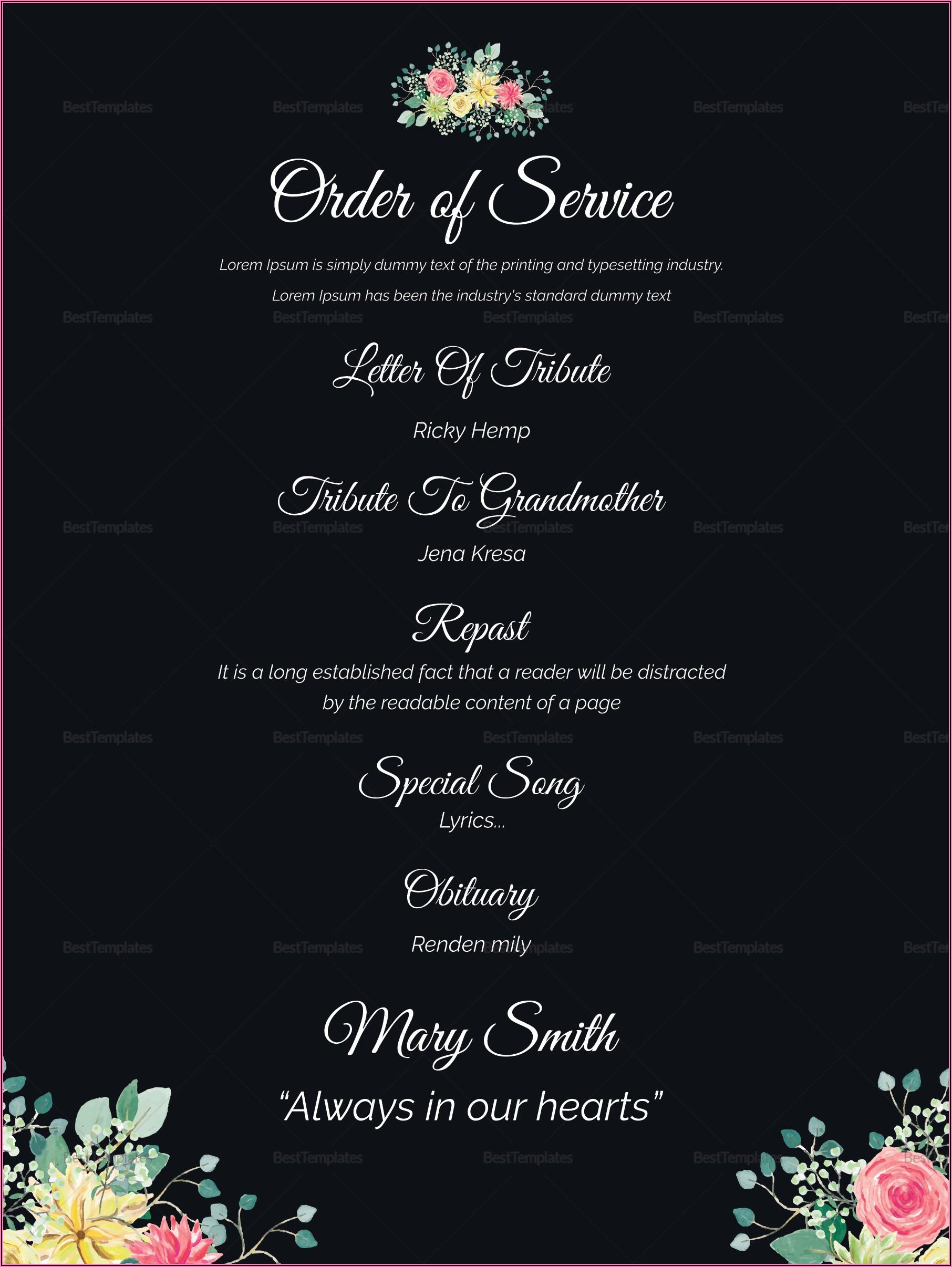 Burial Ceremony Invitation Card Template