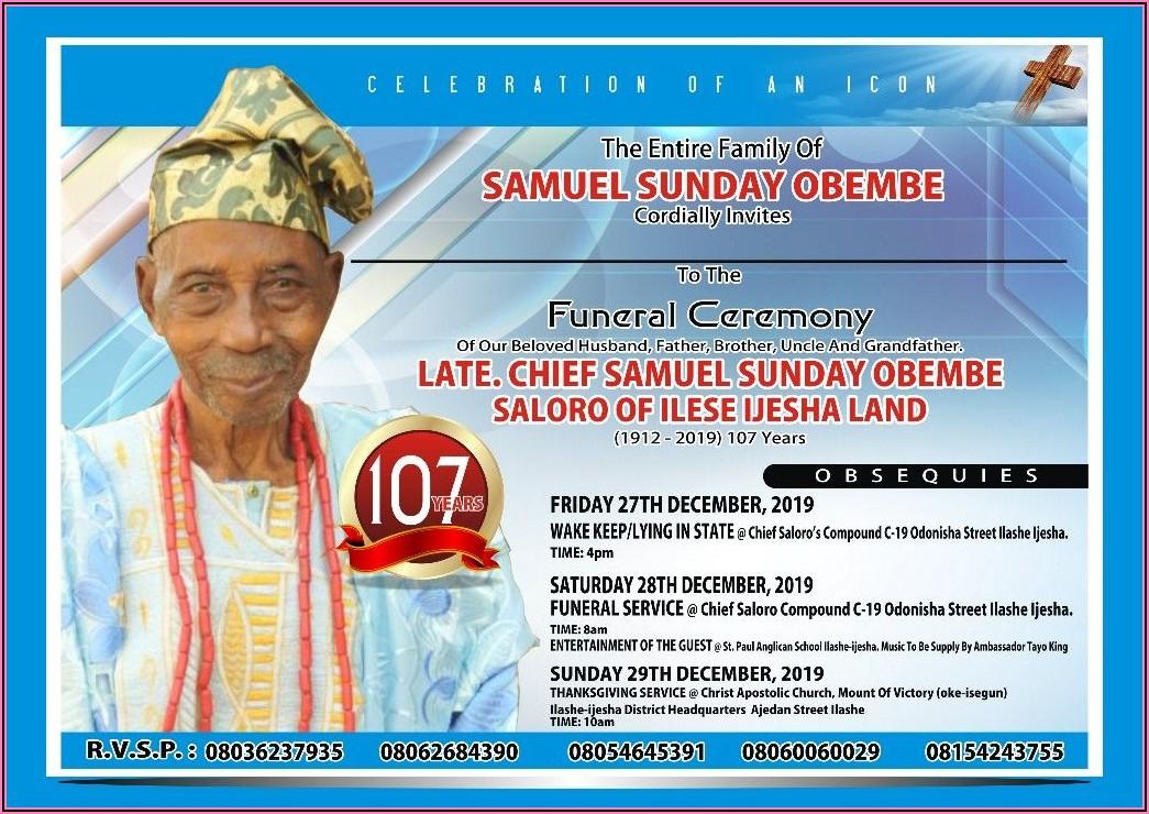 Burial Invitation Card Samples