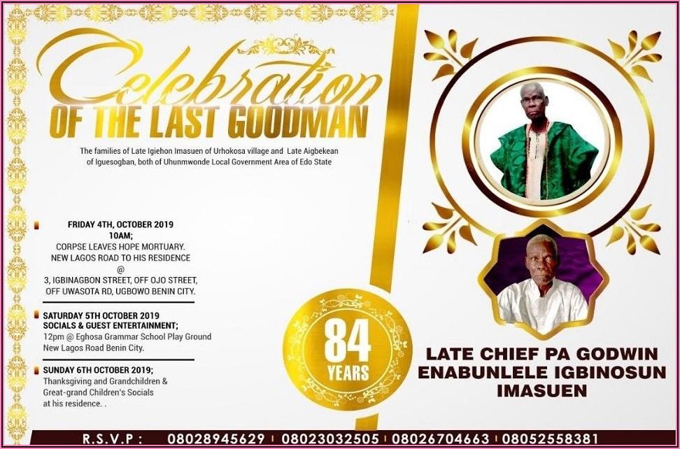 Burial Invitation Card Template