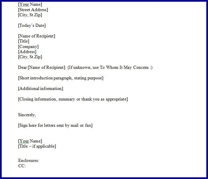 Business Letter Template For Window Envelope