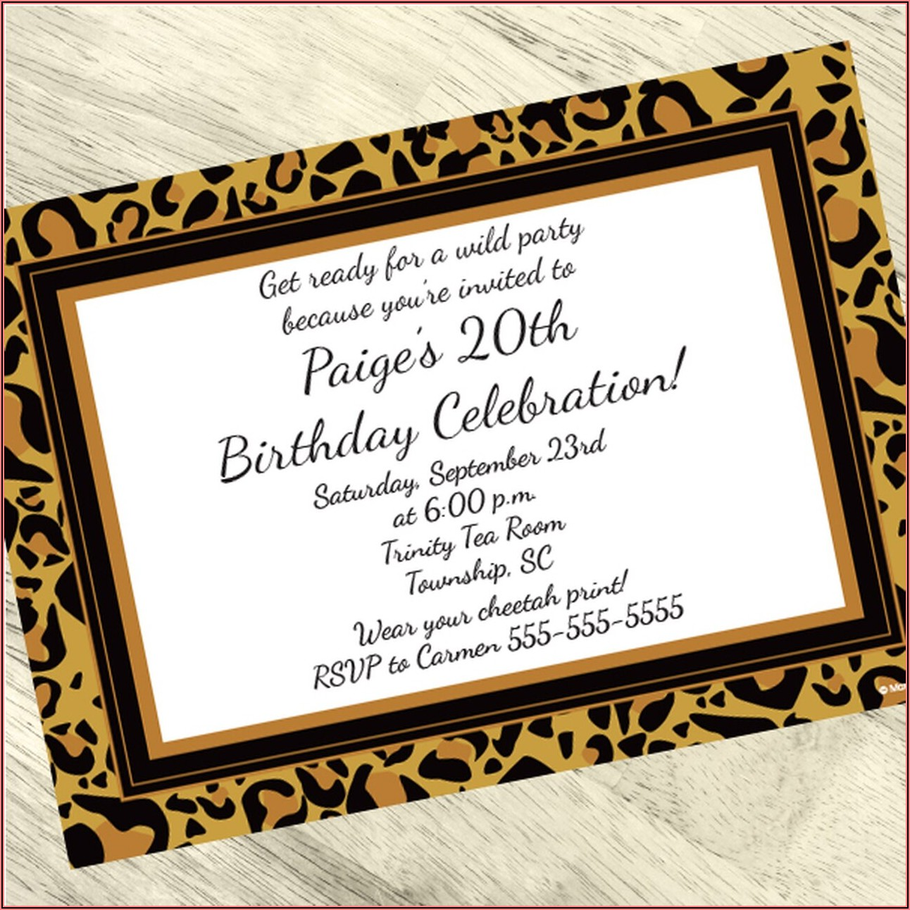 Cheetah Print Personalized Birthday Invitations