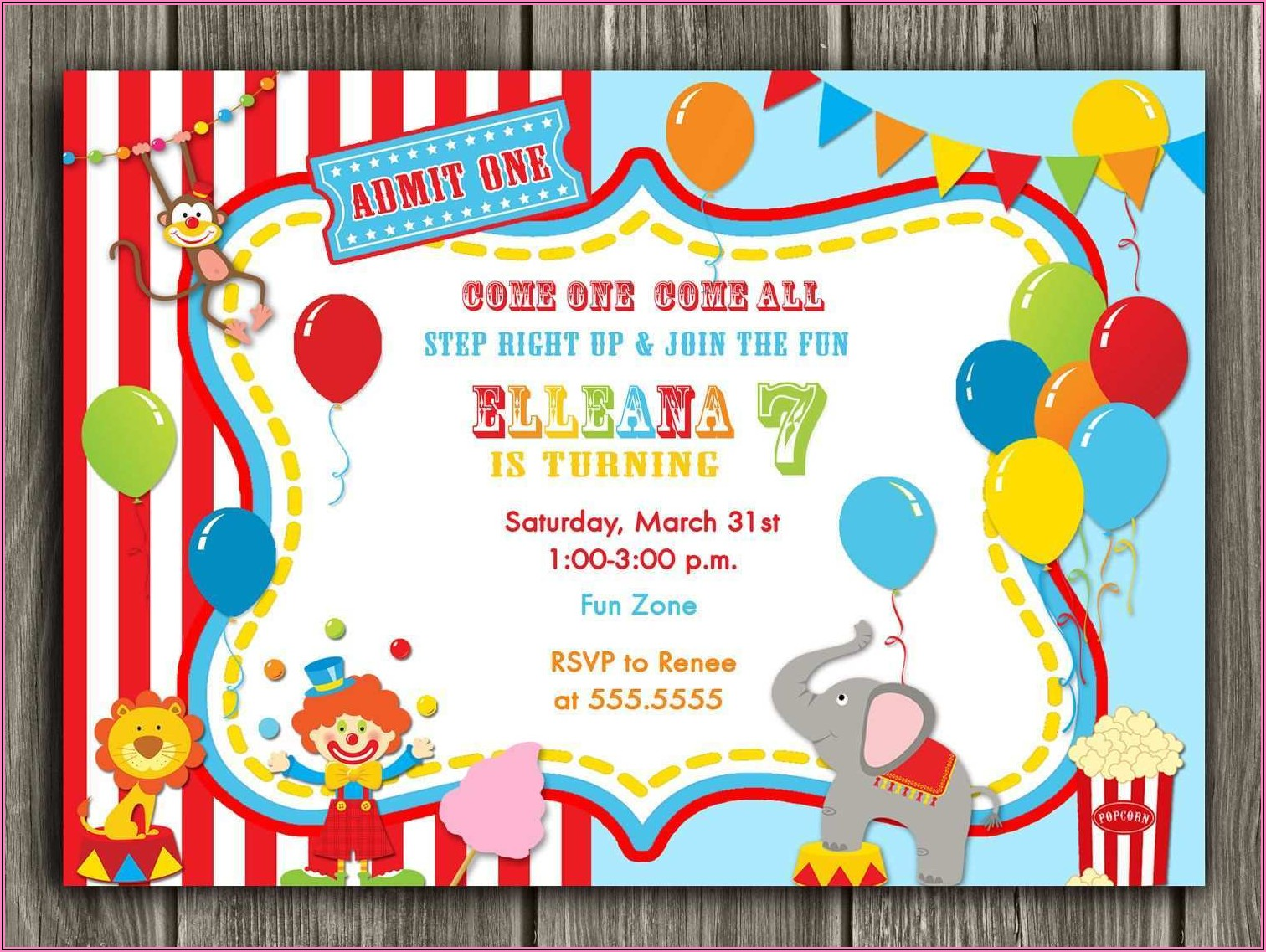 Circus Birthday Invitation Free Template