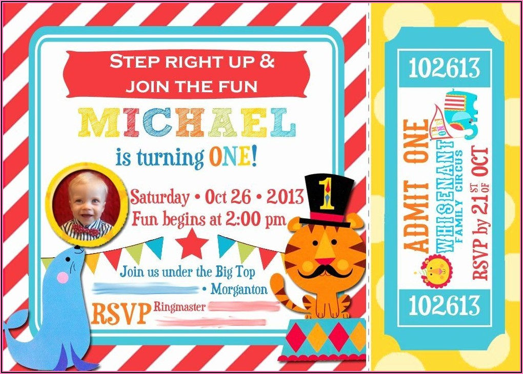 Circus Themed 1st Birthday Invitations