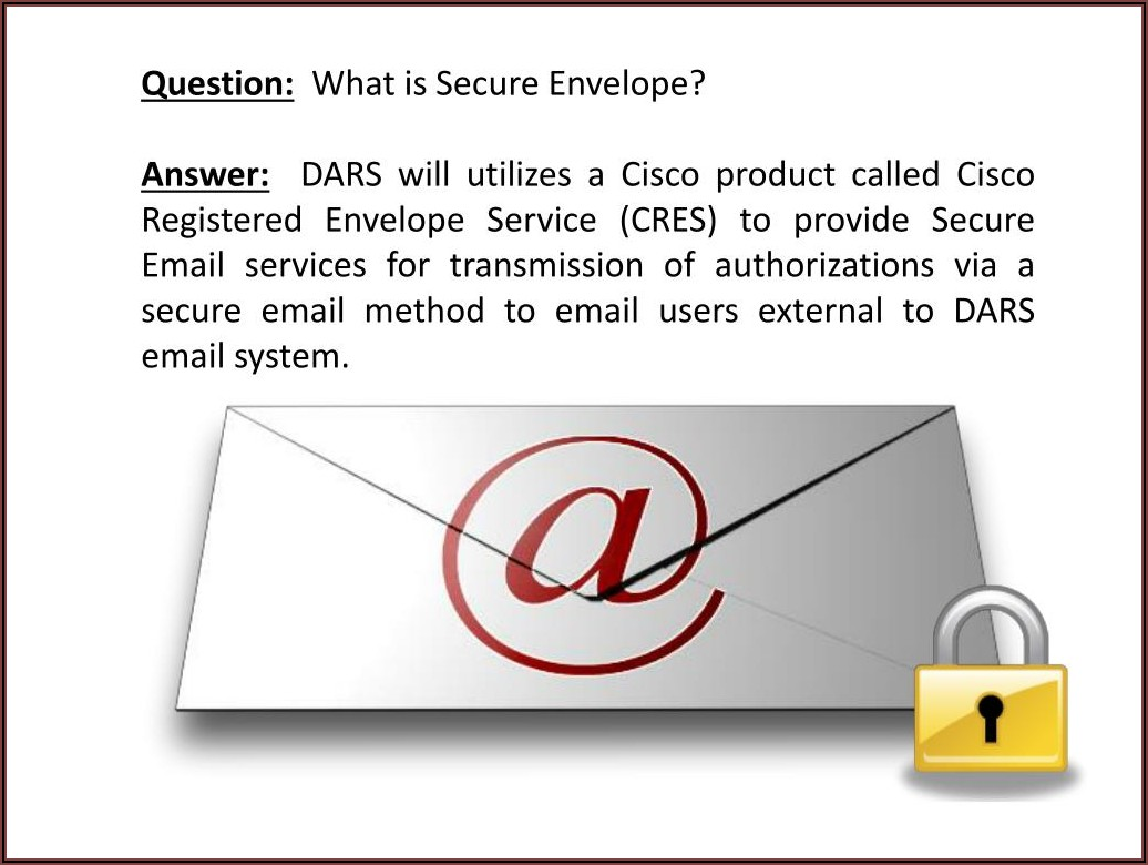 Cisco Registered Envelope Service (cres Register)
