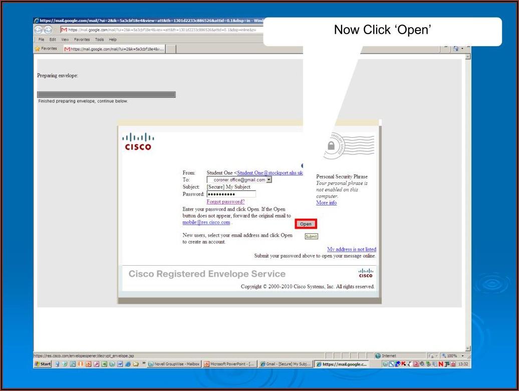 Cisco Registered Envelope Service Help
