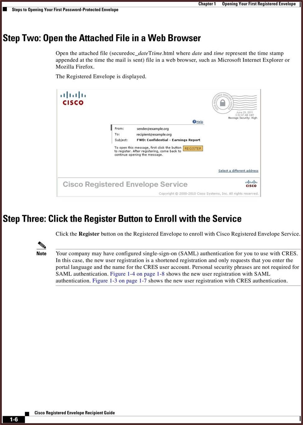 Cisco Registered Envelope Service Login