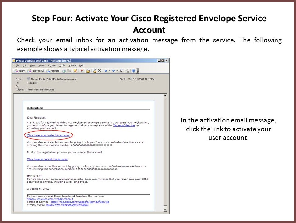 Cisco Registered Envelope Service Register
