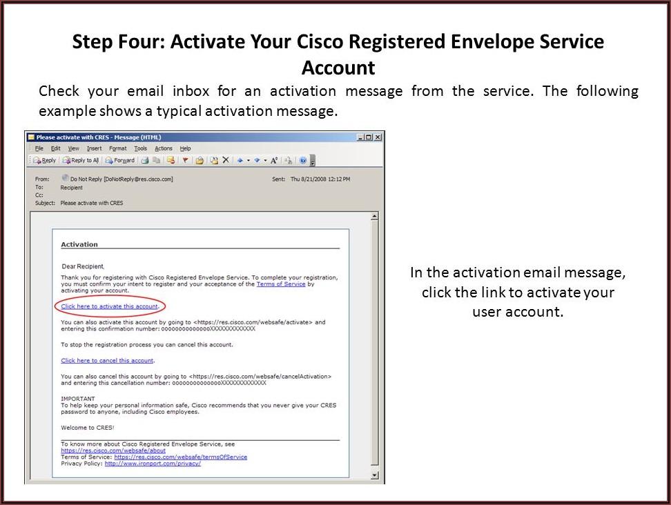 Cisco Registered Envelope Service Register