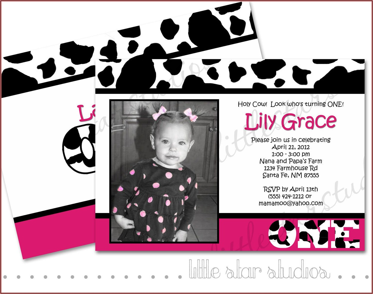 Cow Print Birthday Invitations