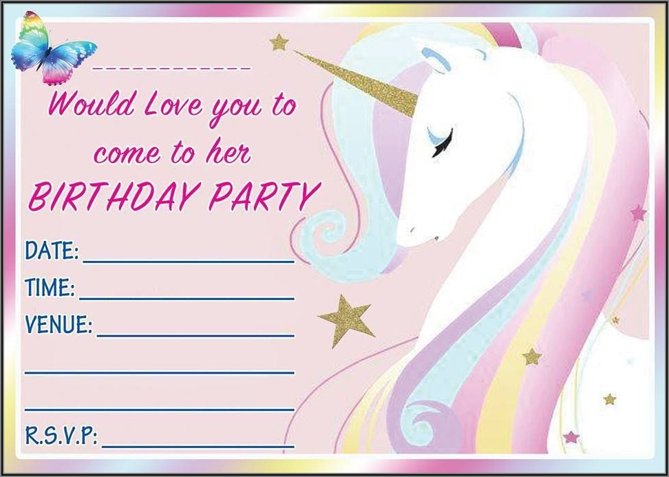 Create Unicorn Birthday Invitation Card Online Free
