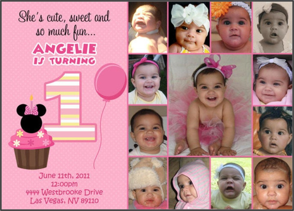 Custom Minnie Mouse 1st Birthday Invitation