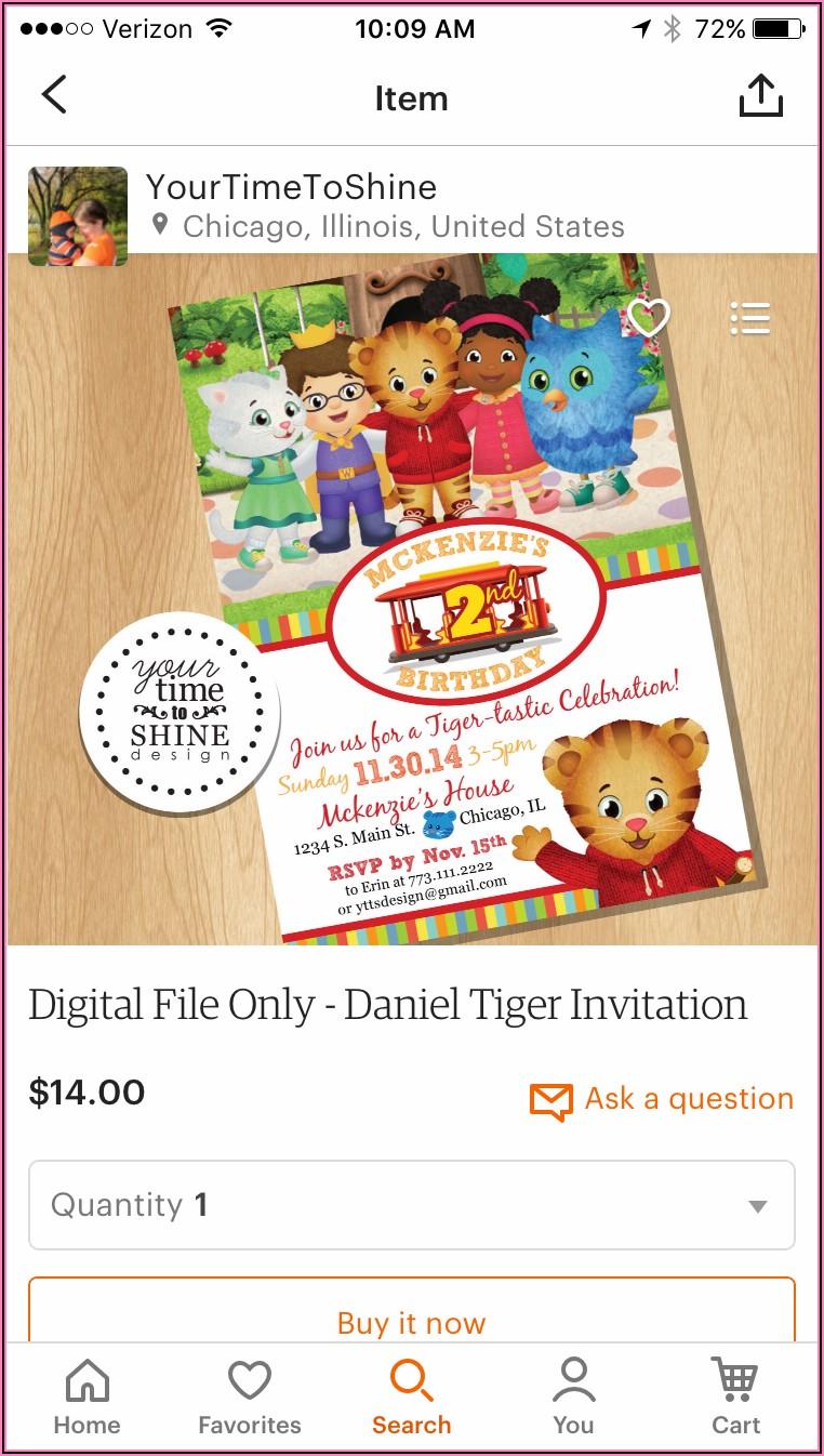 Daniel Tiger First Birthday Invitations