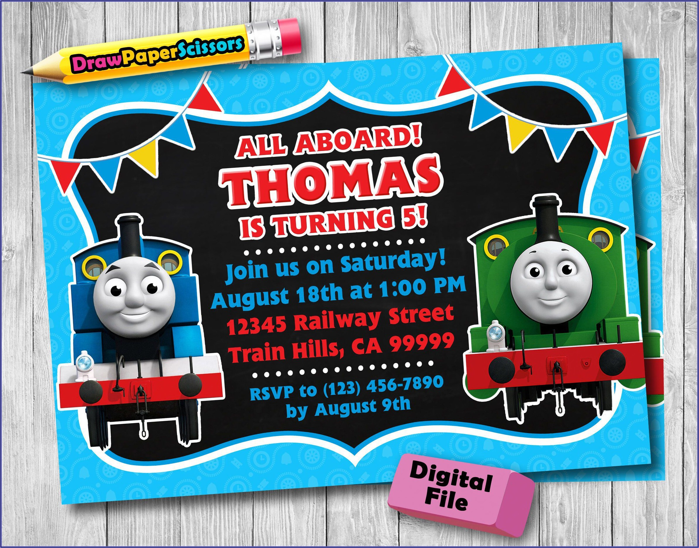 Digital Thomas The Train Birthday Invitations