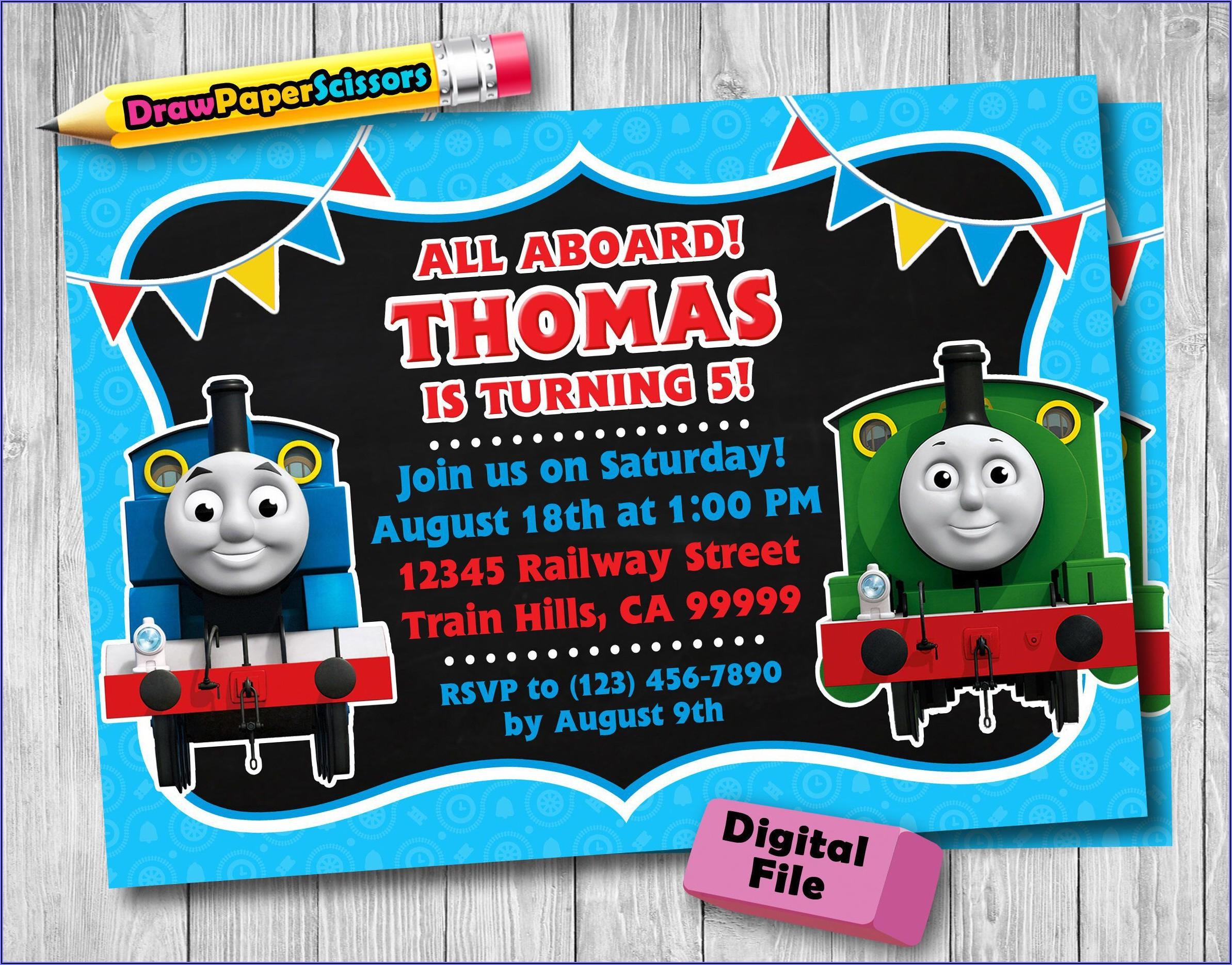 Digital Thomas The Train Birthday Invitations