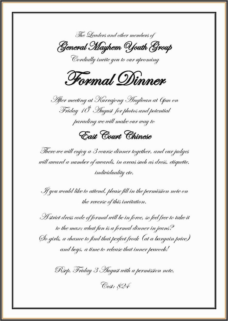 Dinner Invitation Template Microsoft Word
