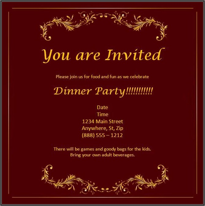 Dinner Invitation Template Word Free